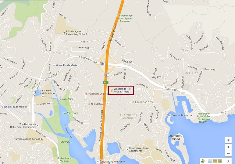 Map to Mill Valley Pet Store